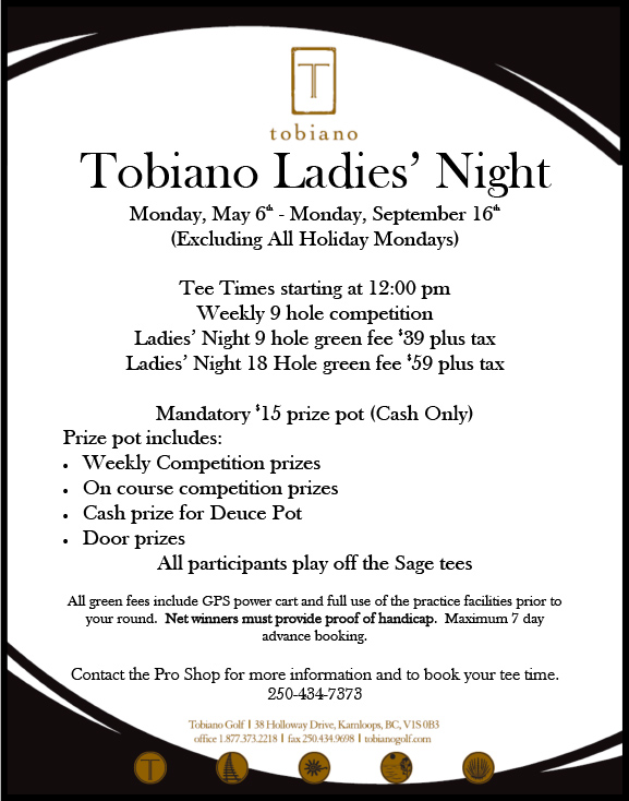Tobiano Ladies' Night Golf Kamloops BC