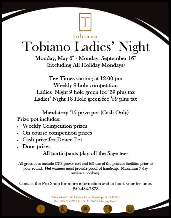 Tobiano Ladies' Night Golf Kamloops BC