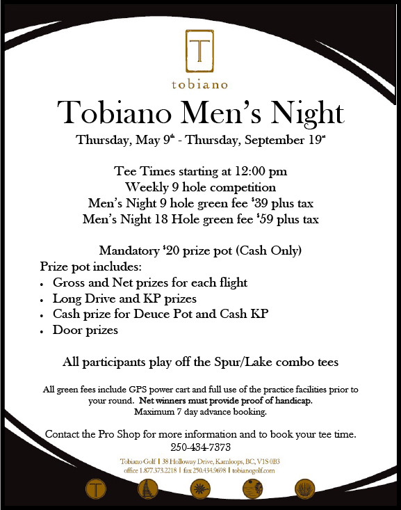 Tobiano Men's Night Golf Kamloops BC